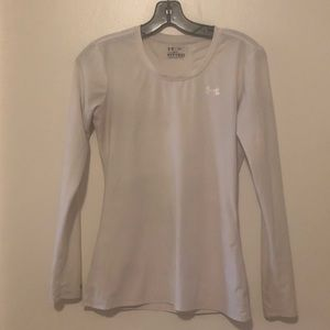 Underarmor Fitted White Long Sleeve Sports Top